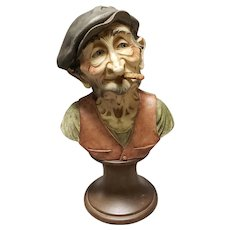 Vintage 1970's Italian Capodimonte Old Man Smoking Cigar Composite Bust Sculpture by Giuseppe Armani