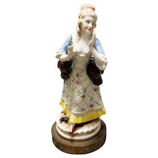 Mid 19th Century French Old Paris Porcelain Woman Figurine on Gilt Brass Base