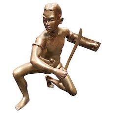 Circa 1930 Siamese Krabi-Krabong Martial Artist Brass Statuette