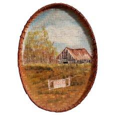 Vintage Barn Landscape Folk Art Painting on Wicker Basket Lid Signed Conn
