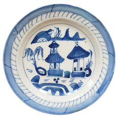 Early 19th Century Chinese Canton Blue and White Porcelain Pagoda Motif Dish