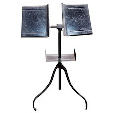 Late 19th Century American Giffen & Giffen Wrought Iron Dictionary Stand on Caster Wheels Made in Chicago