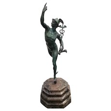 """Late 19th Century Italian After Giambologna """"Mercury"""" Patinated Bronze Sculpture on Marble Base"""