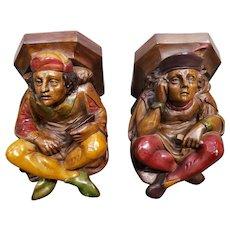 Pair of Mid 20th Century Italian Anri Wood Carving Polychrome Minstrel Figural Wall Brackets