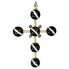 Circa 1870 English Victorian 15 Karat Gold Banded Agate Snake Bail Cross Pendant