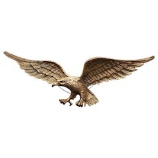 Mid 20th Century Brass Raised Relief Eagle Plaque