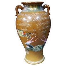 Circa 1880 Japanese Arita Porcelain Enameled Crabs Motif Dragon Handle Vase