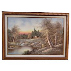Vintage 1970's Forest Landscape Oil Painting on Canvas by H. Wilson
