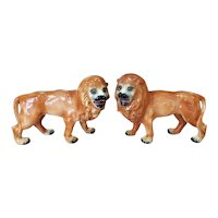 Pair of Late 19th Century English Staffordshire Porcelain Lion Statues