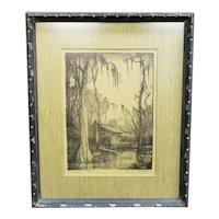 """1930's """"Crawfishers Shack"""" Signed Etching by Knute Heldner (New Orleans/Sweden)"""