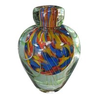 Ca. 1970 Italian Murano Glass Sommerso Pulled Feather Vase