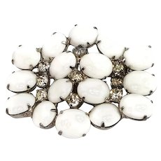 Rare Vintage Milk Glass Brooch