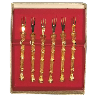 1960s Hor d'oeuvres Gold bamboo set