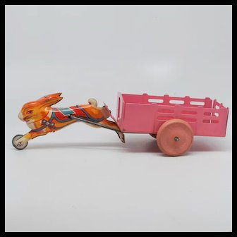 Bunny Pulling Cart Tin and Pressed Steel Vintage Toy
