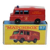 Vintage Lesney Matchbox 57c Landrover Fire Truck Mint in Mint Box
