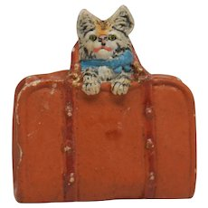 Small Plaster Composition Miniature of Cat in Satchel or Suitcase