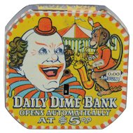 Daily Dime Register Bank Circus Clown Theme