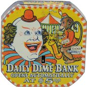 Daily Dime Register Bank Circus Clown Theme