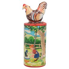 Clucking  Hen Tin Toy Noise Maker made in Japan