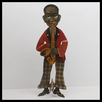 Vintage Black Saxophone Player  Tin Squeeze Toy D.R.G.M. Germany