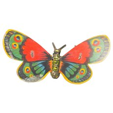 Very Old Tin Litho Wind-up Butterfly with Flapping Wings - Red Tag Sale Item