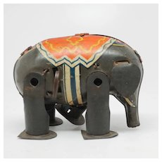 Vintage Tin Litho Wind-up Elephant