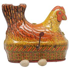 Baldwin Egg Laying and Clucking Tin Litho Hen