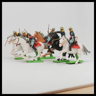 Britains Deetail ACW American Civil War 5 Confederate Cavalry Toy Soldiers