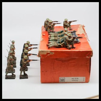 Lineol Pre-War Composition Infantry Set 40/3/15 with Box