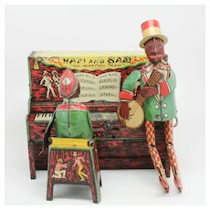 Vintage Ferdinand Strauss Ham and Sam The Minstrel Team Tin Band Black Americana