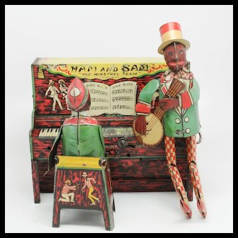 Vintage Ferdinand Strauss Ham and Sam The Minstrel Team Tin Band Black Americana