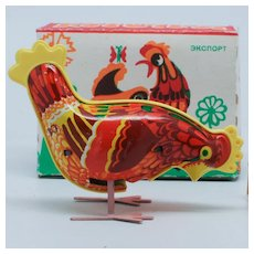Tin Litho Wind Up Pecking Chicken Rooster Made in USSR with box and key