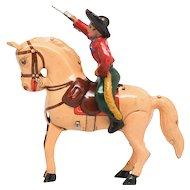 U.S.Zone Superb Kohler  Cowboy on Bucking Horse Germany Tin Wind Up Toy