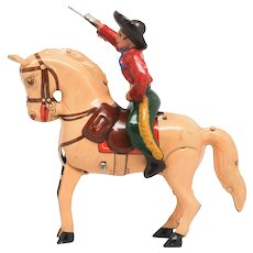 U.S.Zone Superb Kohler  Cowboy on Bucking Horse Germany Tin Wind Up Toy