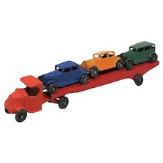 1931-1933 Tootsietoy Mack Car Transport with 3 Cars No 0190