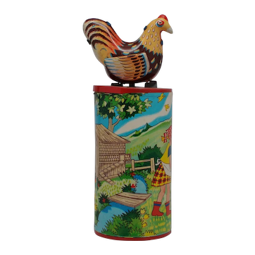 Mechanical Toy Clucking Hen, Tin Lithography and Paper, Japan