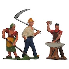 Three Lead  Farm Figures Made in France