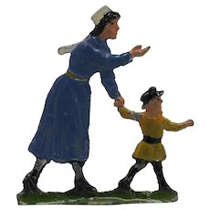 Wonderful Vintage Civilian Flat Tin Zinnfiguren Figure of Nanny with Child