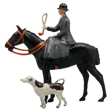 Britains Fox Hunt Woman Sidesaddle with Standing Hound