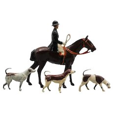 Britains Hunt Series Lead Huntswoman on Horse With 3 Hounds