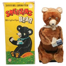 Vintage toy Battery Operated Linemar Sneezing Bear