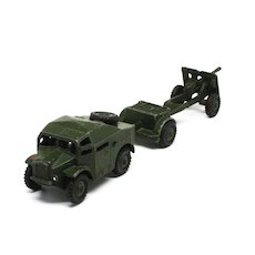 Vintage Dinky Military Artillery Tractor Limber and Gun Set #697
