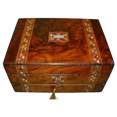 Inlaid Figured Walnut Ex Combination Writing Box. c1875