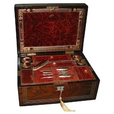Inlaid Rosewood Fitted Vanity - Jewelry Box. Gilt Edged Interior. C1850