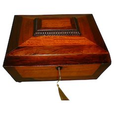 Rosewood & Satinwood Jewelry Box + Tray. c1860