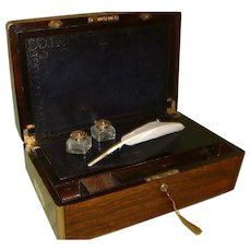 Rare Quality Fully Bound Rosewood Writing Box. Original Leather c1835
