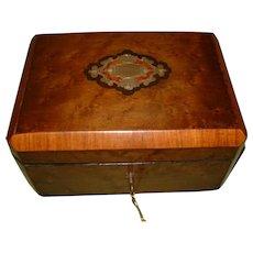 Maple + Boulle Style Inlaid Jewelry Box. 100% Original. C1870