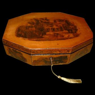 Georgian Octagonal Sewing Box. 100% Original. C1820