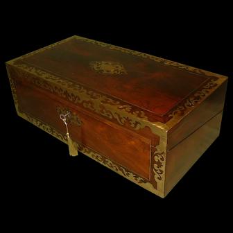 Large Regency Inlaid Rosewood Writing Box. Secret Drawers. c1835.