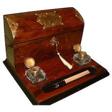 Cormack Brothers Walnut Stationery Box – Desk Stand. C1880